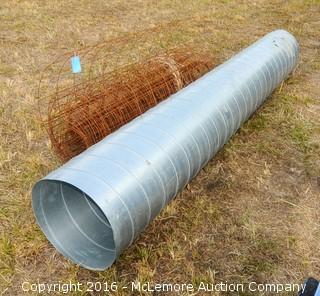 10 Foot Long Duct Conduit with Smaller Pieces Inside and Concrete Wire