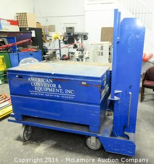 Metal Tow-able Work Wagon with Vise, Storage Cage, Gas Bottle Area and Storage Area Crash Cart
