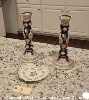 Set of Porcelain Candle Holders