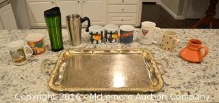 Assortment of Coffee Mugs and Serving Tray
