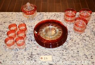 Assortment of Glassware and Tray