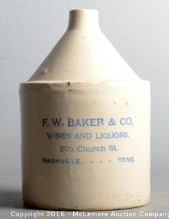 F.W. Baker & Company, Nashville, TN Whiskey Jug