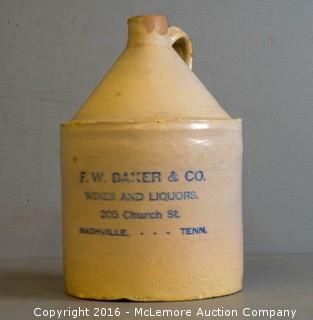 F.W. Baker and Co., Nashville, TN Whiskey Jug