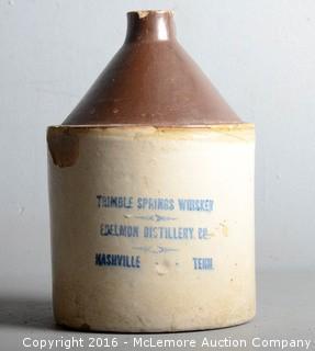 Trimble Springs Whiskey Edelman Distillery Co. Nashville Tennessee Whiskey Jug