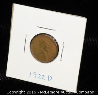 1922 D One Cent Wheat Coin