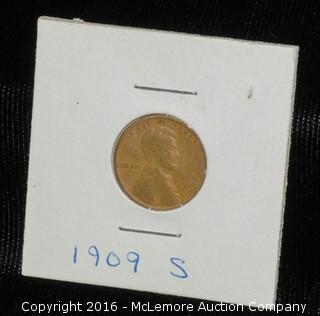 1909 S One Cent  Coin