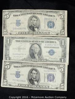 2 Five Dollar and a One Dollar Silver Certificate
