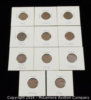11 - Lincoln Head 1930's One Cent Coins