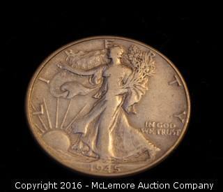 1945 Walking LIberty Silver Half Dollar Coin