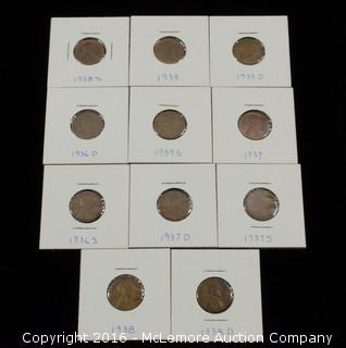 11 Lincoln Head One Cent Coins