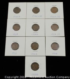 10 Lincoln Head One Cent Coins