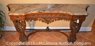Hand Carved Marble Top Console