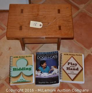 3 Books and Small Wooden Stool