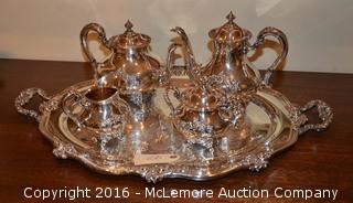 Reed and Barton Regent Shield Silverplate Coffee & Tea Serving Set