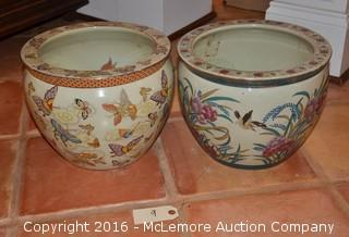 Two Oriental Themed Urns
