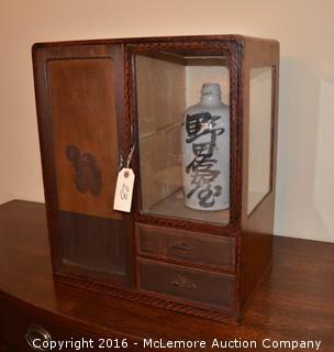 Decorative Display Cabinet with Oriental Vase
