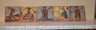 5 Hand Painted Decorative Tiles