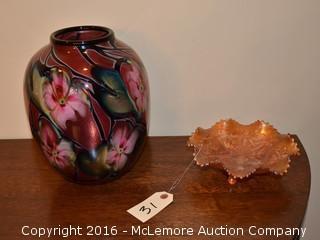 Art Glass Vase, Artist Signed Along Base with Carnival Glass Dish