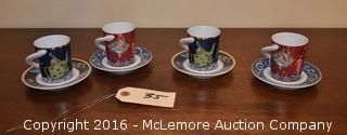 Decorative Espresso Cups and Saucers
