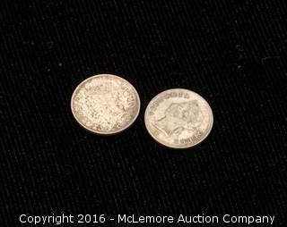 2 Queen Victoria Hong Kong Five Cent Coins