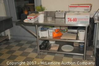 Stainless Counter and Shelf with Garbage Counter