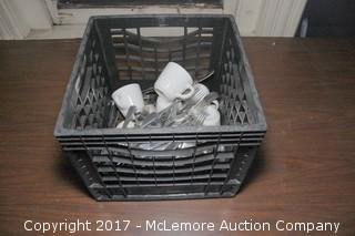 Crate of Assorted Dish and Flatware