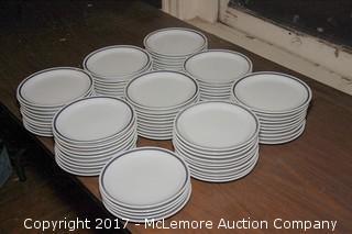 """Crate of 8"""" Ringed Ceramic Plates"""