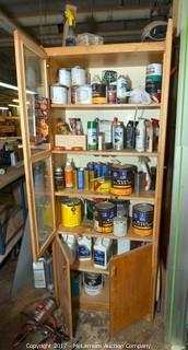 Wood Cabinet and Contents