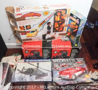 Model Helicopter, Corvette, Race Track, Model Rocket and Racing Wheels