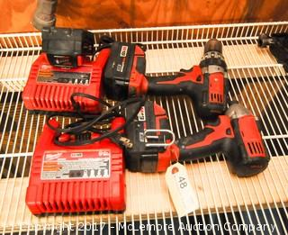 Milwaukee Compact Driver and Drill M18 with Batteries and Chargers