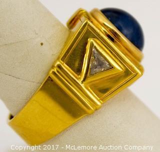 Men's 18 Karat Yellow Gold Cabochon Sapphire Ring