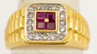 Men's 14 Karat Yellow Gold Ruby And Diamond Ring