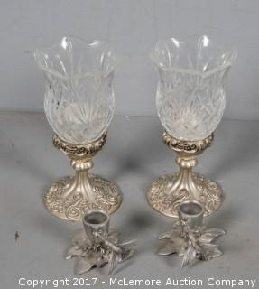 Pewter and Silverplate Candle Holders