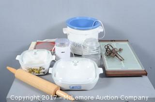Assortment of Kitchen Containers and Home Items