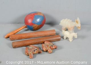 Hand Carved Cuban (Pre-Castro) Wooden Maraca, Claves, Clay Frogs, and Carved Onyx Donkey Figureines