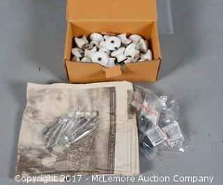 Box of Vintage Porcelain Cabinet/Drawer Pulls, Crystal Chandelier Prisims with Other Pulls