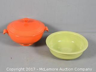 ca. 1950's Vintage Fiestaware Covered Casserole and Vegetable Dishes