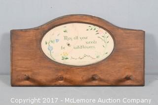 """Vintage Needlepoint Hatrack """"May all your weeds be wildflowers"""""""