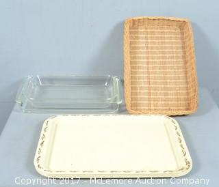 Assortment of Kitchen Trays and Wicker Basket