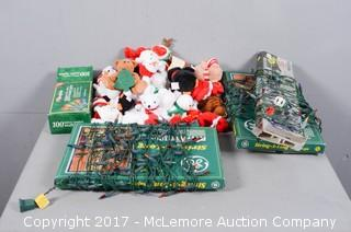 Assortment of Christmas Themed Plush Toys and Lights