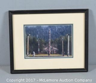 Signed and Framed Lisa Thompson Photograph of Totem Poles