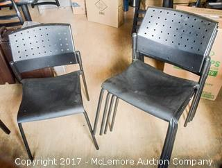 Five Plastic and Metal Chairs