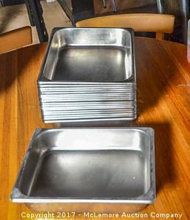 Nineteen Stainless Steel Pans With Seventeen Stainless Steel Lids