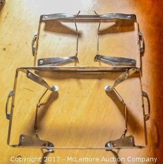 Two Matching Stainless Steel Pan Stands