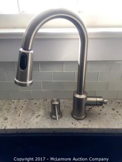 Stainless Steel Kitchen Faucet with Retractable Hose and Soap Dispenser