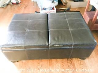 Brown Bonded Leather Ottoman with Storage
