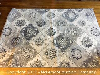 Grey/Brown Floral Rug