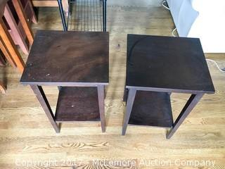 Matching Brown Wood End Tables
