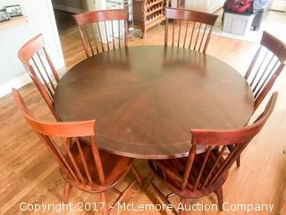 "Round 60"" Diameter Wood Pedistal Table and Chair Set - 6 Chairs"