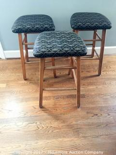 Wood Cushioned Butterfly Patterned Stools - Set of 3